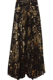 Alice + Olivia Shannon pleated metallic printed chiffon maxi skirt