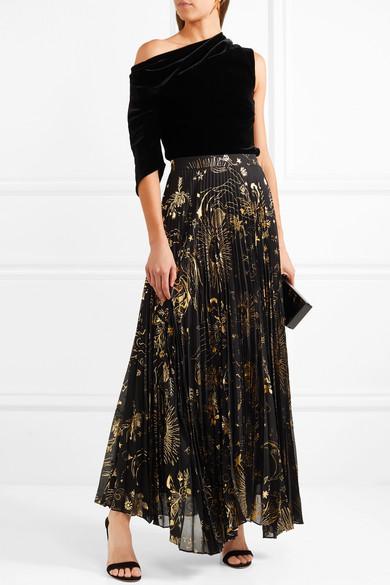 3b1ad064a7 Alice + Olivia   Shannon pleated metallic printed chiffon maxi skirt ...