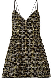 Alice + Olivia Marilla embellished embroidered velvet mini dress