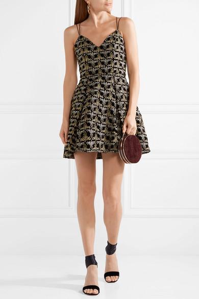 Alice + Olivia Marilla besticktes Minikleid aus Samt mit Verzierungen