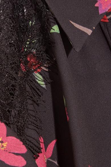 Alice + Olivia Sina Maxikleid aus Chiffon mit Blumenprint und Spitzeneinsätzen