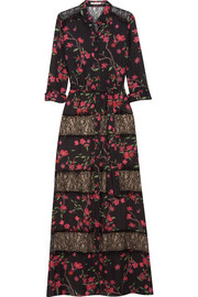 Alice + Olivia Sina lace-paneled floral-print chiffon maxi dress