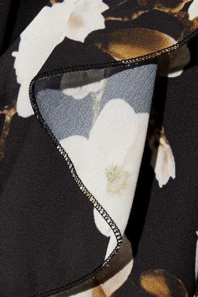 Alice + Olivia Kye Midikleid aus Crêpe de Chine mit floralem Print und Rüschen