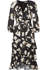 Alice + Olivia Kye ruffled floral-print crepe de chine midi dress