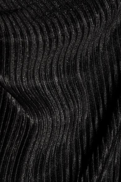 Alice + Olivia Keiko Jumpsuit aus plissiertem Satin mit asymmetrischer Schulterpartie