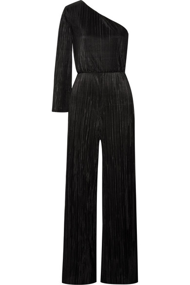 Keiko One Shoulder Plissé Satin Jumpsuit by Alice + Olivia