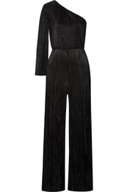 Alice + Olivia Keiko one-shoulder plissé-satin jumpsuit