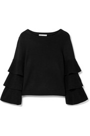 Alice + Olivia Stora tiered wool-blend sweater