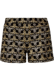 Alice + Olivia Marisa embellished embroidered velvet shorts