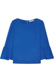 Alice + Olivia Bernice ruffled silk crepe de chine top