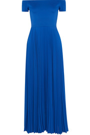 Alice + Olivia Ilaria off-the-shoulder stretch-jersey and plissé-chiffon dress