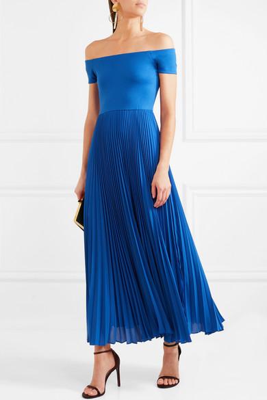 Alice + Olivia Ilaria schulterfreies Kleid aus Stretch-Jersey und plissierter Chiffon