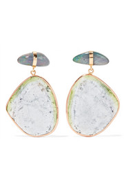 14-karat rose and yellow gold, opal and tourmaline earrings