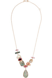 14-karat gold, tourmaline and opal necklace