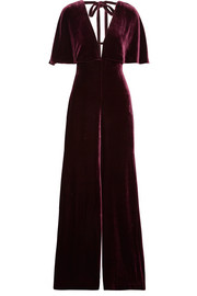 Juno cape-effect velvet jumpsuit