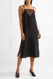 Lace-trimmed washed-silk dress