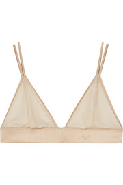 Kiki de Montparnasse Satin-trimmed stretch-tulle soft-cup triangle bra