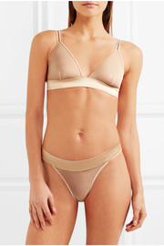 Satin-trimmed stretch-tulle briefs