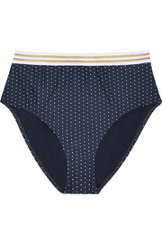 Jade high-rise polka-dot bikini briefs