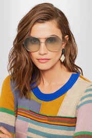 Nola oversized square-frame gold-tone sunglasses