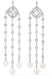 Christina 18-karat white gold, diamond and coral earrings