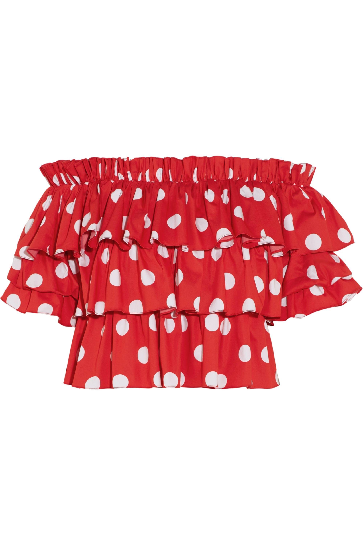 Caroline Constas Pandora ruffled off-the-shoulder polka-dot cotton top