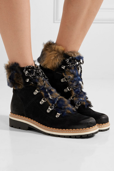 a5290d26460c4 Sam Edelman. Bronte faux shearling-trimmed suede ankle boots