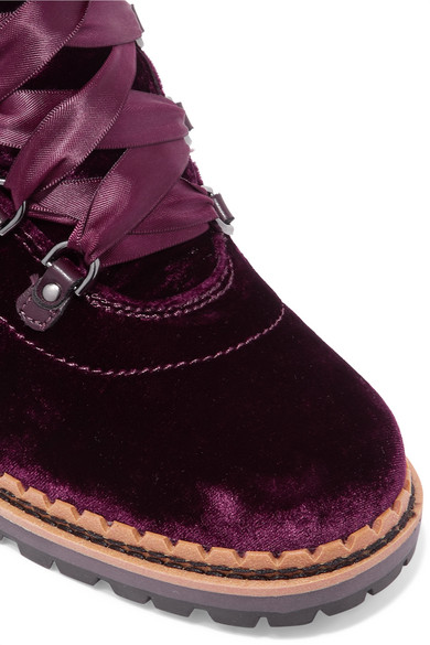cd5d4739f17bcc Sam Edelman. Browan leather-trimmed velvet ankle boots.  60. Zoom In