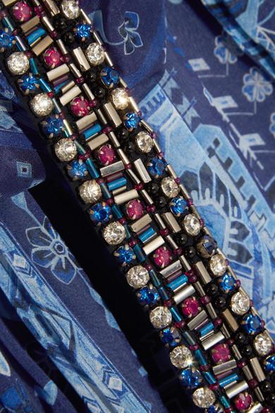 Matthew Williamson Inca Jewel bedruckte Robe aus Seidenchiffon mit Verzierungen