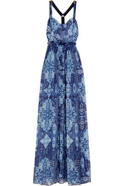 Inca Jewel embellished printed silk-chiffon gown