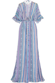 Saya Stripe silk-chiffon maxi dress
