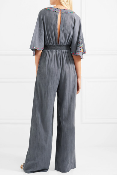 Matthew Williamson Pampas Peacock Jumpsuit aus bestickter Baumwolle