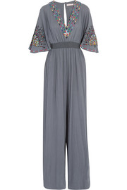 Matthew Williamson Pampas Peacock embroidered cotton jumpsuit