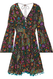 Pampas Peacock pompom-embellished printed silk crepe de chine mini dress
