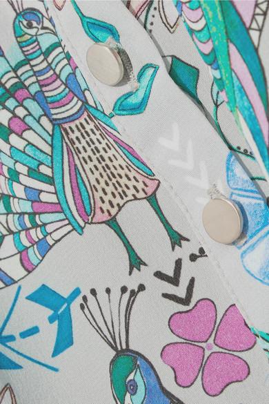 Matthew Williamson Pampas Peacock bedruckter Midirock aus Crêpe de Chine aus Seide