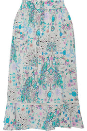 Matthew Williamson Pampas Peacock printed silk crepe de chine midi skirt