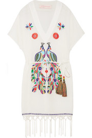Matthew Williamson Macramé-trimmed embroidered cotton-crepon kaftan
