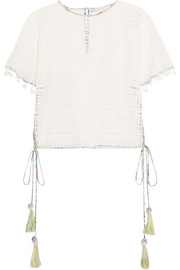Matthew Williamson Pompom-embellished lace top
