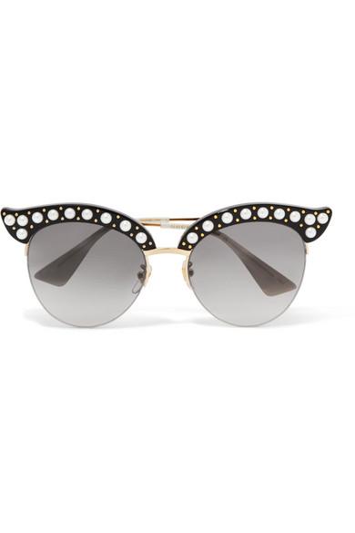 Cat eye acetate sunglasses with pearls - White Gucci dco5gunm