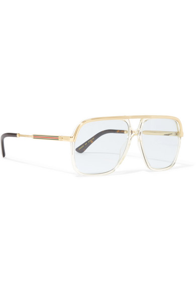 db4f509e768 Squared aviator-style gold-tone and acetate sunglasses