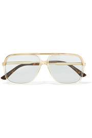 Squared aviator-style gold-tone and acetate sunglasses