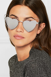 New Wave 197 LouLou heart-shaped silver-tone mirrored sunglasses