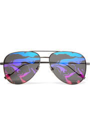 Saint Laurent Aviator-style titanium mirrored sunglasses
