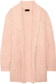 Ribbed wool and cotton-blend cardigan