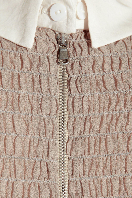 Carven Silk-blend contrast-collar dress