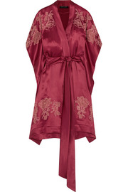 Carine Gilson Chantilly lace-appliquéd silk-satin robe