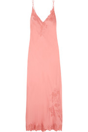 Chantilly lace-trimmed silk-satin nightdress