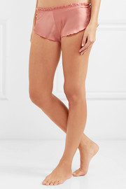 Chantilly lace-trimmed silk-satin pajama shorts