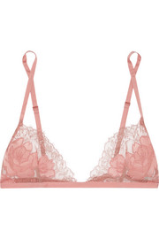 Carine Gilson Silk satin-trimmed lace soft-cup bra