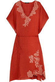 Lace-trimmed silk-satin kaftan